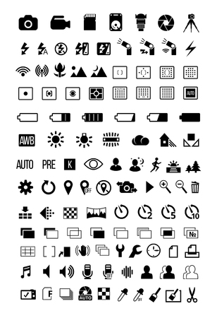 Illustration for Photo camera mode setting options feature and symbols ultimate big icon set. - Royalty Free Image