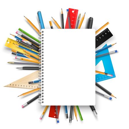 Illustration pour Back to school theme. Notebook rulers pens and pencils. Vector background for education designs - image libre de droit