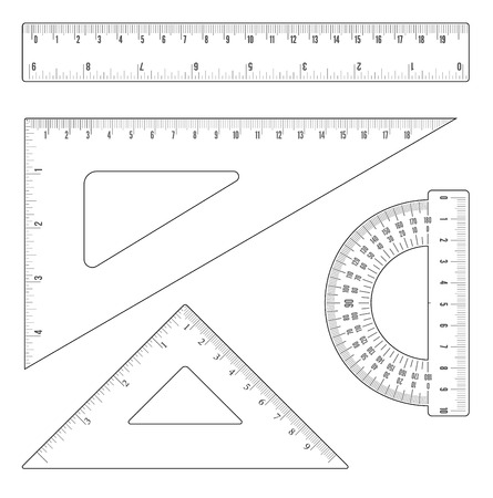 Illustration pour Simple flat outline rulers and triangles set. Vector objects - image libre de droit