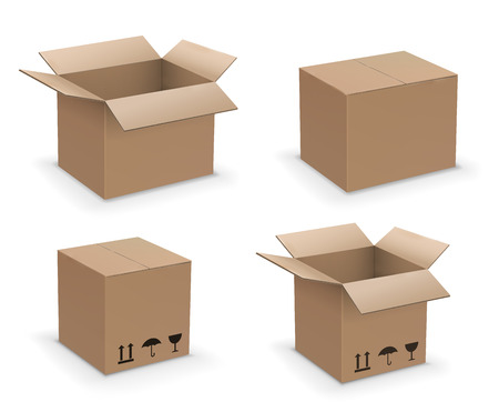 Illustration pour Vector rectangl shape box set, recycle or packaging brown cardboard boxes collection, open, closed and sealed - image libre de droit