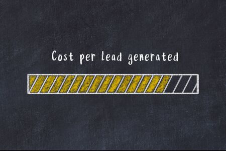Chalk drawing of loading progress bar with inscription cost per lead generated.