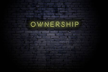 Photo pour Highlighted brick wall with neon inscription ownership. - image libre de droit