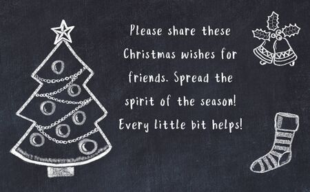 Photo for Drawing of christmas tree and handwritten greetings on black chalkboard . - Royalty Free Image