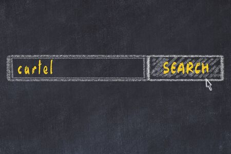 Chalkboard drawing of search browser window and inscription cartel.