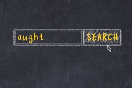 Concept of looking for aught. Chalk drawing of search engine and inscription on wooden chalkboard