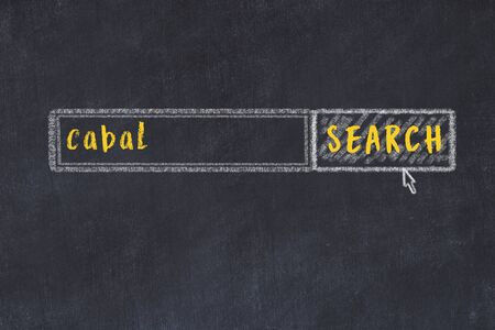 Drawing of search engine on black chalkboard. Concept of looking for cabal