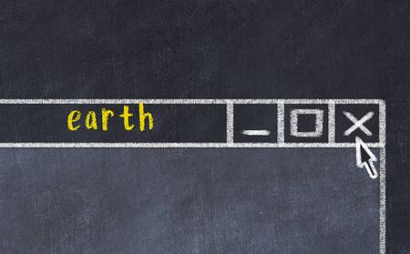 Closing browser window with caption earth. Chalk drawing. Concept of dealing with trouble