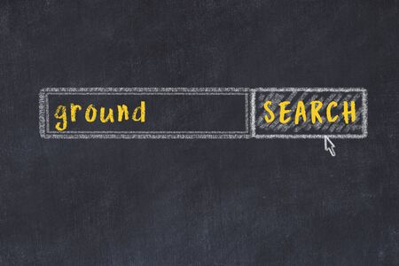 Drawing of search engine on black chalkboard. Concept of looking for ground