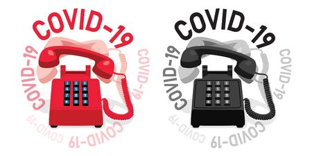 Ringing stationary retro phone with button keypad COVID-19.