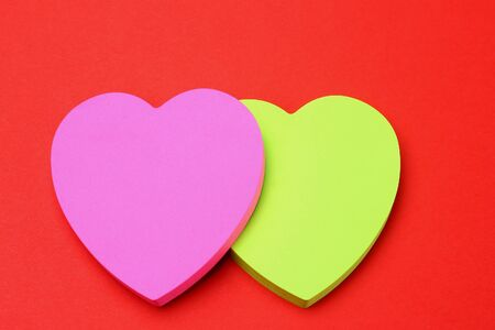 Photo pour Two blank heart shaped stickers with space for text. Creative symbolic background on the theme of love - image libre de droit