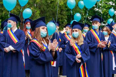 Photo pour Graduates at the graduation day. Beltsy, Moldova May 31, 2021. Editorial use only. - image libre de droit