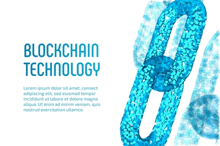 Illustration for Block chain. Crypto currency. Blockchain concept. 3D wireframe chain with digital blocks. Editable cryptocurrency template. Stock vector illustration - Royalty Free Image