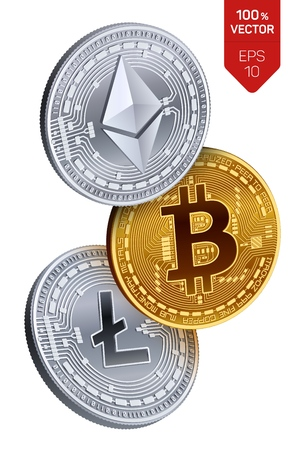 Bitcoin  Ethereum  Litecoin  3D isometric Physical coins