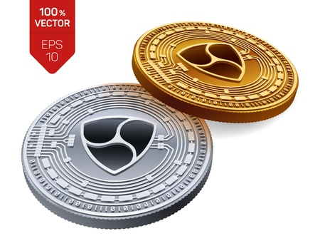 Nem  Crypto currency  3D isometric Physical coins  Digital