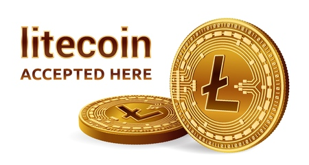 Litecoin  Crypto currency  3D isometric Physical coins