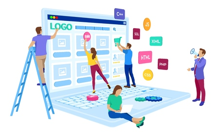 Ilustración de Web development. Project team of engineers for website create. Webpage building. UI UX design. Characters on a concept. Web agency. Template for programmer or designer. Vector illustration - Imagen libre de derechos