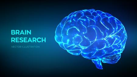 Illustration pour Brain. Human brain research. 3D Science and Technology concept. Neural network. IQ testing, artificial intelligence virtual emulation science technology. Brainstorm think idea. Vector illustration - image libre de droit