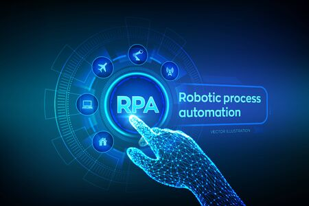 Illustration pour RPA Robotic process automation innovation technology concept on virtual screen. Wireframed robotic hand touching digital graph interface. AI. Artificial intelligence. Vector illustration - image libre de droit
