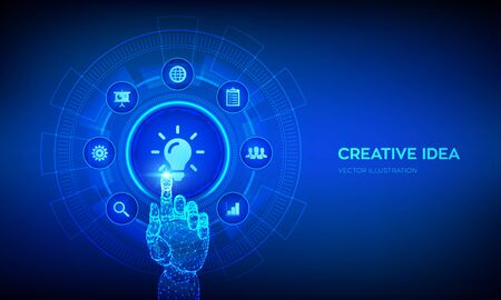 Illustration pour New idea. Creative Idea lamp icon. Creativity, innovation and inspiration modern technology and business concept on virtual screen. Robotic hand touching digital interface. Vector illustration - image libre de droit