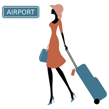 Photo pour Illustration of a young woman with a suitcase at the airport. - image libre de droit