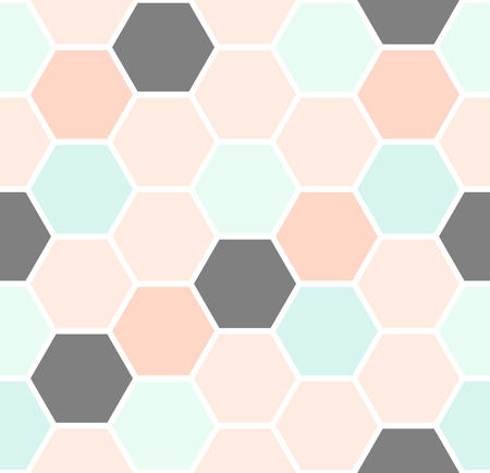 Photo pour Geometric seamless repeating pattern with hexagon shapes in pastel colors. - image libre de droit