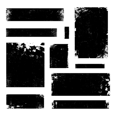 Illustration pour A set of distressed vector design elements in black isolated on white. Textured vintage frames, banners, backgrounds with copy space. - image libre de droit