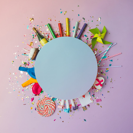 Photo for Colorful celebration background with various party confetti, balloons, streamers, fireworks and decoration on pink background. Flat lay. - Royalty Free Image