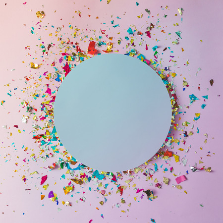 Photo pour Colorful celebration background with party confetti on pink background. Flat lay. - image libre de droit