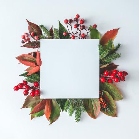Foto de Creative Christmas layout made of natural decoration. Flat lay. Nature New Year concept. - Imagen libre de derechos