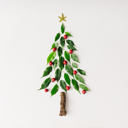 Foto de Christmas tree made of leaves and branch. Flat lay. New Year nature minimal concept. - Imagen libre de derechos