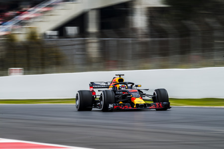 Photo for BARCELONA, SPAIN – FEBRUARY 26, 2018: Daniel Ricciardo during Formula One Test Days that celebrates at Circuit of Barcelona Catalunya. - Royalty Free Image