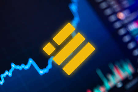 Photo pour Binance USD Cryptocurrency. Binance coin growth chart on the exchange, chart - image libre de droit