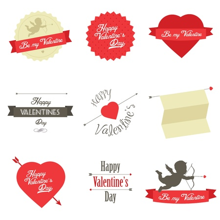 Set of Valentine s Day red labels and badges