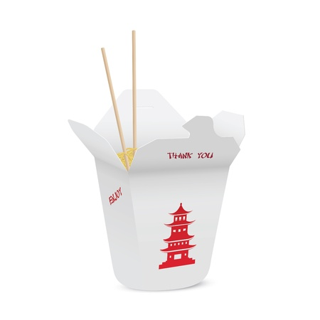Illustration pour Chinese restaurant opened take out box filled with noodles - image libre de droit