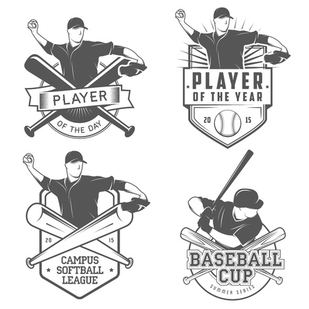 Set of vintage baseball and softball labels and badges