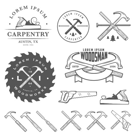 Set of vintage carpentry tools, labels and design elements