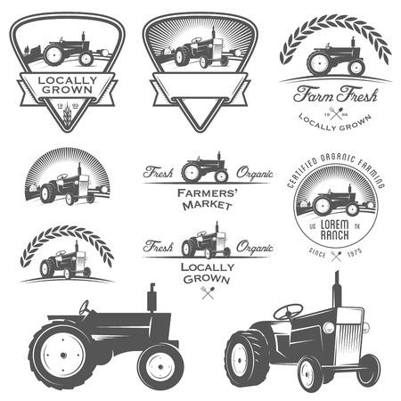 Set of retro farming labels, badges and design elements