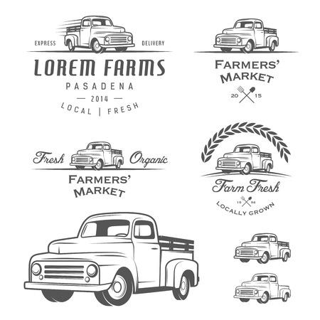Illustration pour Set of retro farming labels, badges and design elements - image libre de droit