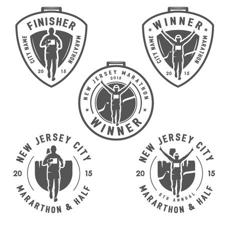 Set of vintage marathon labels medals and design elements