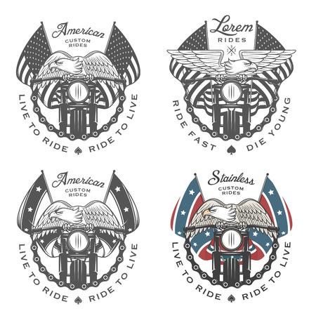 Illustration pour Set of vintage motorcycle emblems and design elements - image libre de droit