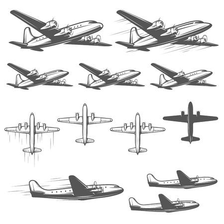 Ilustración de Vintage airplanes from different angles - Imagen libre de derechos