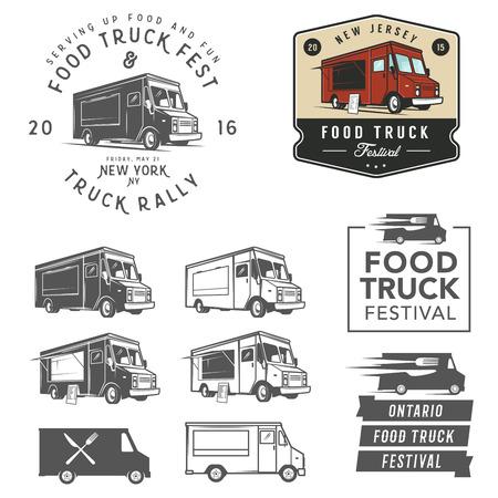 Illustration pour Set of food truck festival emblems, badges and design elements - image libre de droit
