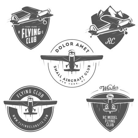 Ilustración de Light and RC airplane related emblems, labels and design elements - Imagen libre de derechos