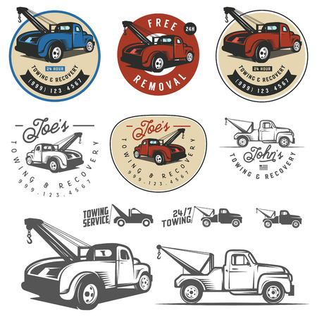 Illustration for Vintage car tow truck emblems, labels and design elements - Royalty Free Image
