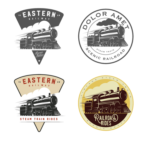 Illustration pour Set of vintage retro railroad steam train logos, emblems, labels and badges - image libre de droit