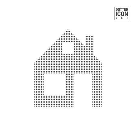 Home Dot Pattern Icon. Home Dotted Icon Isolated on White Background. Vector Illustration of Home. Vector Background for Banner, Certificate, Poster Design, Visiting Card.