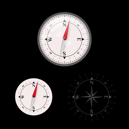 3D Vector Compass Icon Set with Glass and without Glass, Map Navigation Object. Wind Rose Icon. Vector Illustration.