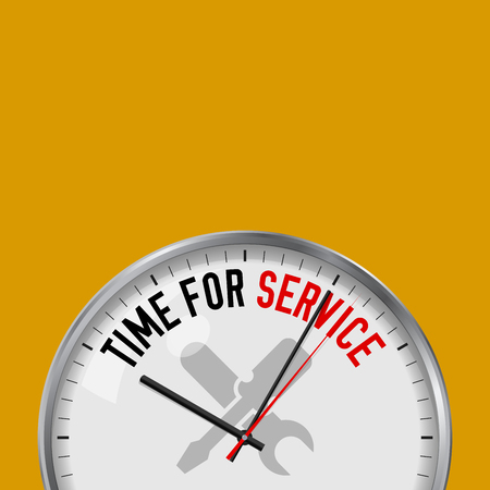 Illustration pour Time for Service. White Vector Clock with Motivational Slogan. Analog Metal Watch with Glass. Vector Illustration Isolated on Solid Color Background. Tools Icon. - image libre de droit