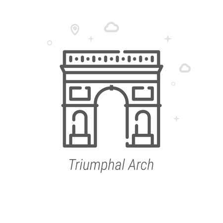 Triumphal Arch, Paris Vector Line Icon. Historical Landmarks Symbol, Pictogram, Sign. Light Abstract Geometric Background. Editable Stroke. Adjust Line Weight. Design with Pixel Perfection.