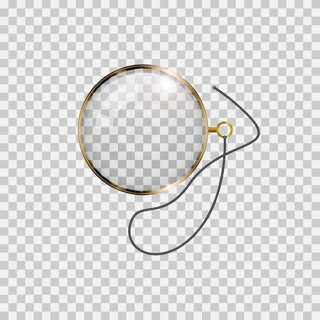 Illustration pour Golden monocle with lace isolated on checkered transparent background. Realistic vector illustration. - image libre de droit